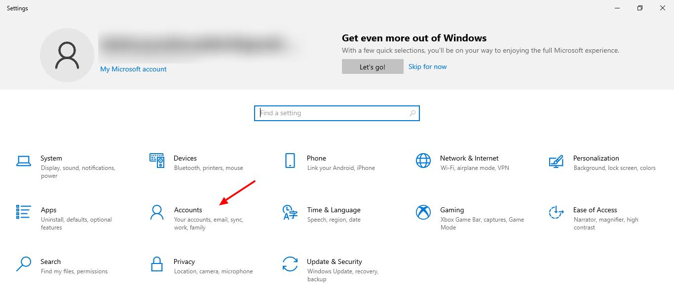screenshot of Accounts tab in Settings of Windows 10