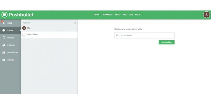 screenshot of adding email of a friend on pushbullet