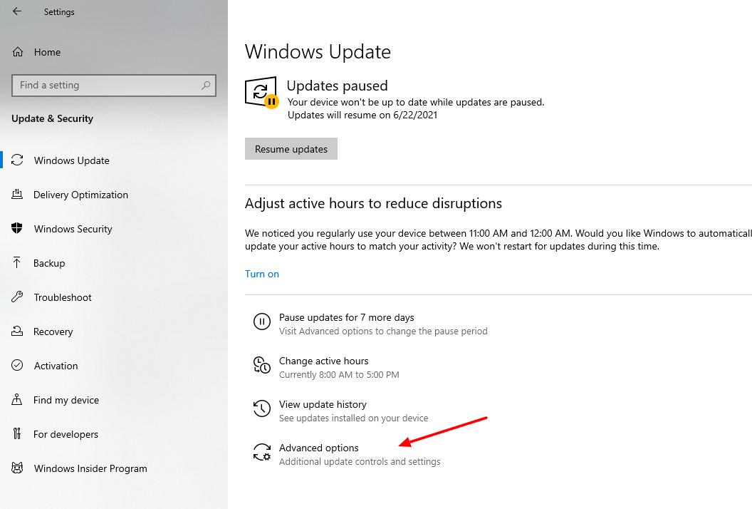 screenshot of Advanced controls in settings of Windows 10
