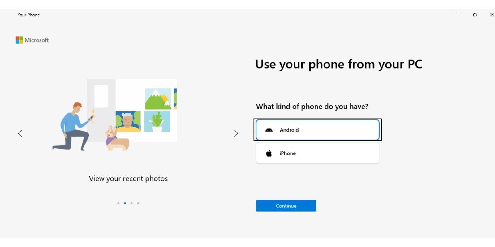 Screenshot of Your Phone app asking phone OS