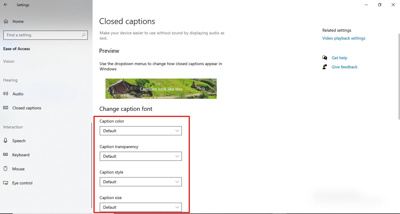Screenshot of Closed Caption feature in Windows 10