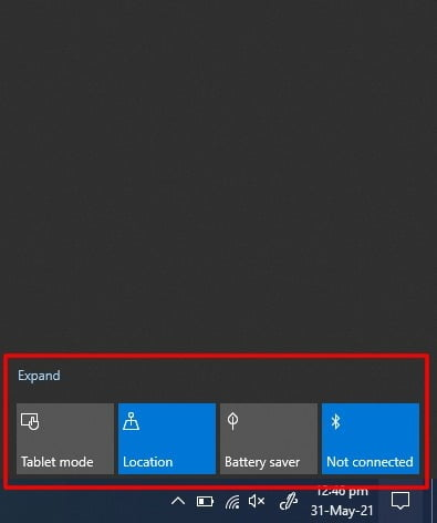 Screenshot of Collapsed Quick Action panel on Notification Center in Windows 10