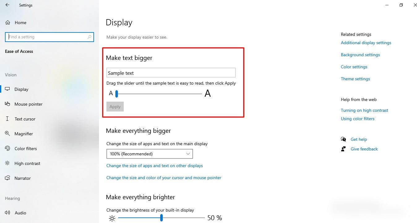 screenshot of Display feature in Windows 10