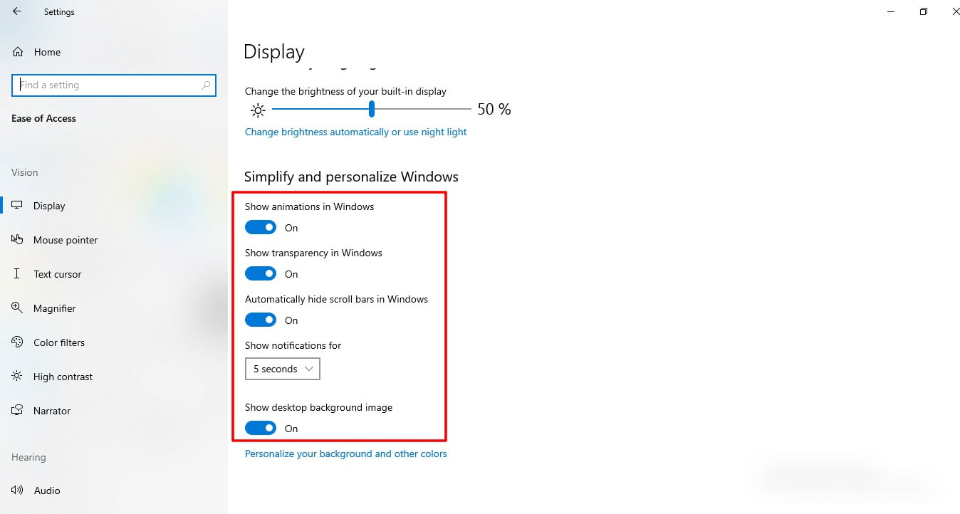 Screenshot of Display settings in Windows 10