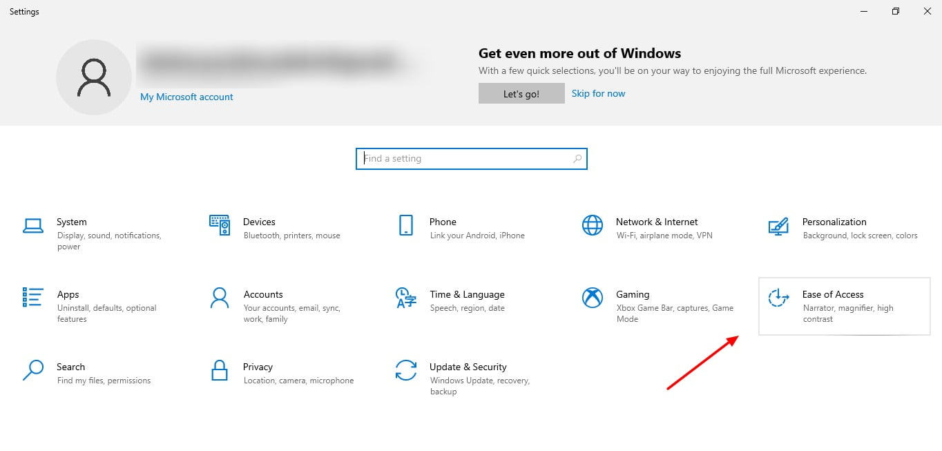 screenshot of Ease of access tab in Windows 10