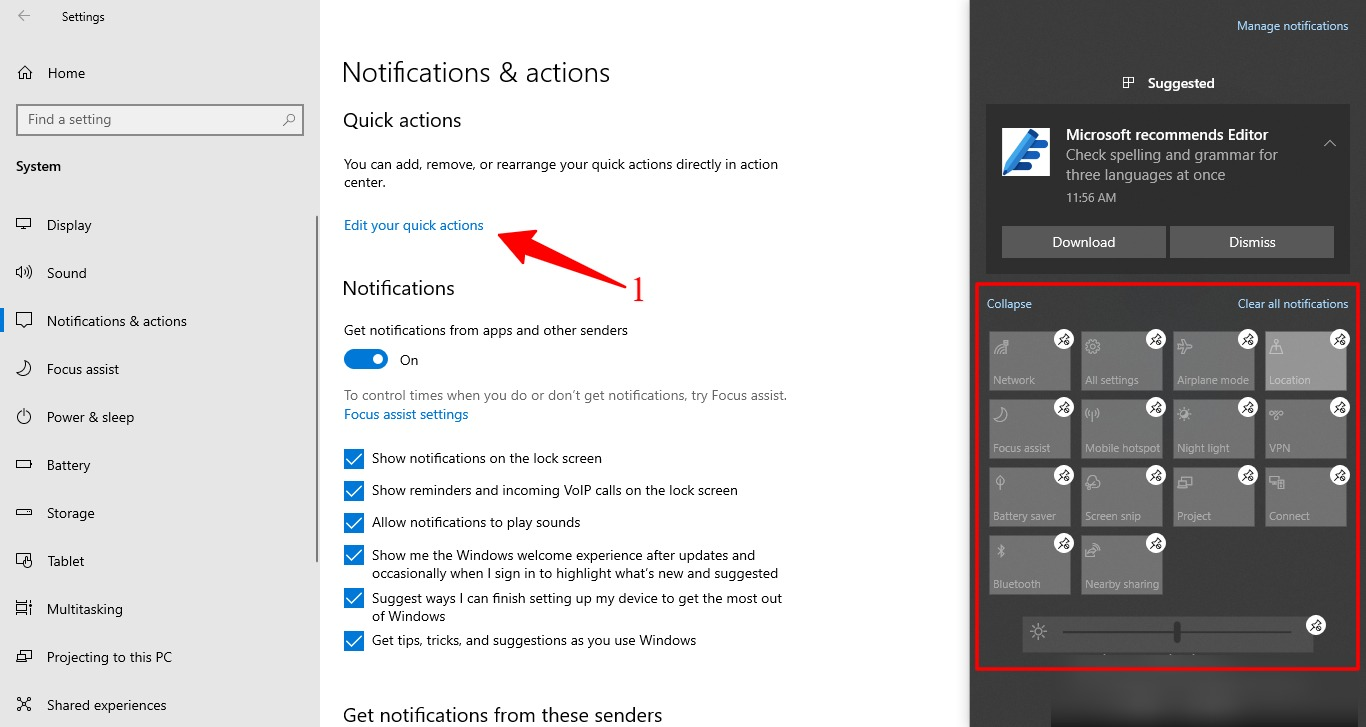 Screenshot of Edit Quick action panel