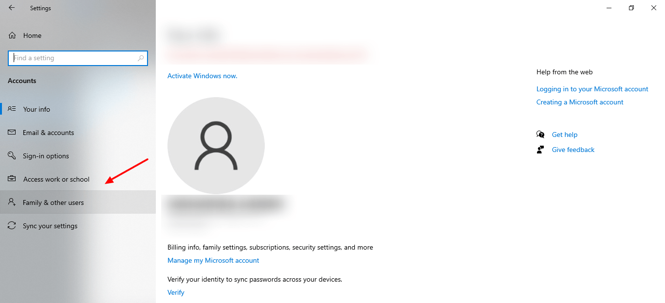 screenshot of Family and other users tab in Settings of Windows 10