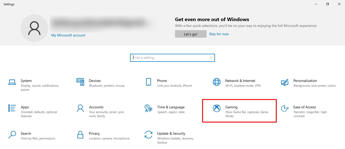 Screenshot of Gaming tab in Setting of Windows 10