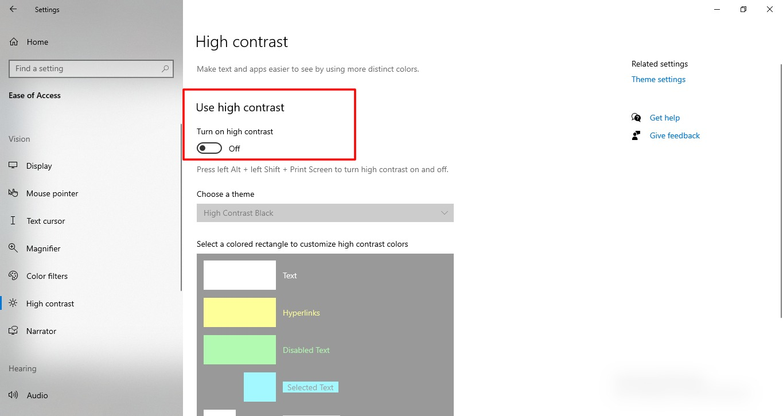 Screenshot of High Contrast in Windows 10