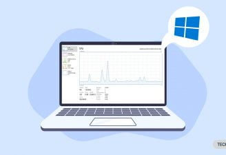 A laptop featuring the performance graph on WIndows 10