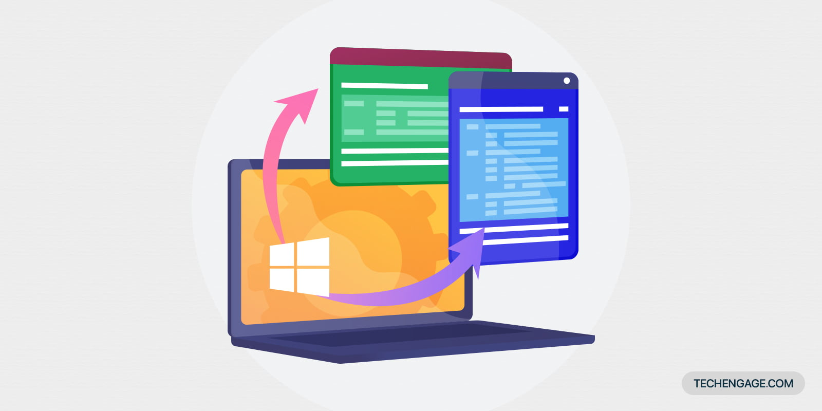 An icon of laptop featuring Windows OS with applications popping out of the screen