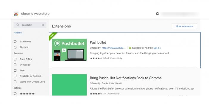 screenshot of pushbullet app in Chrome web store