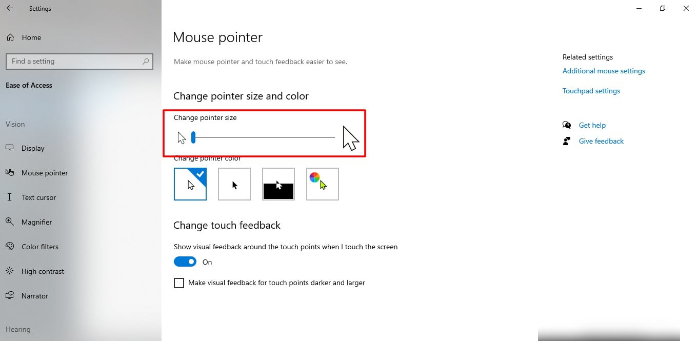 Screenshot of Mouse pointer size in Windows 10