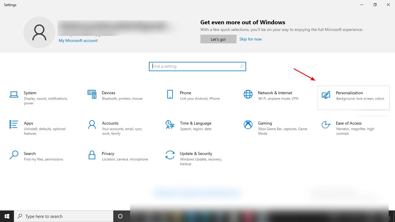 screenshot of personalization tab on windows 10 settings