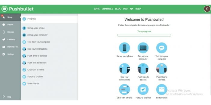 screenshot of a setup page on pushbullet