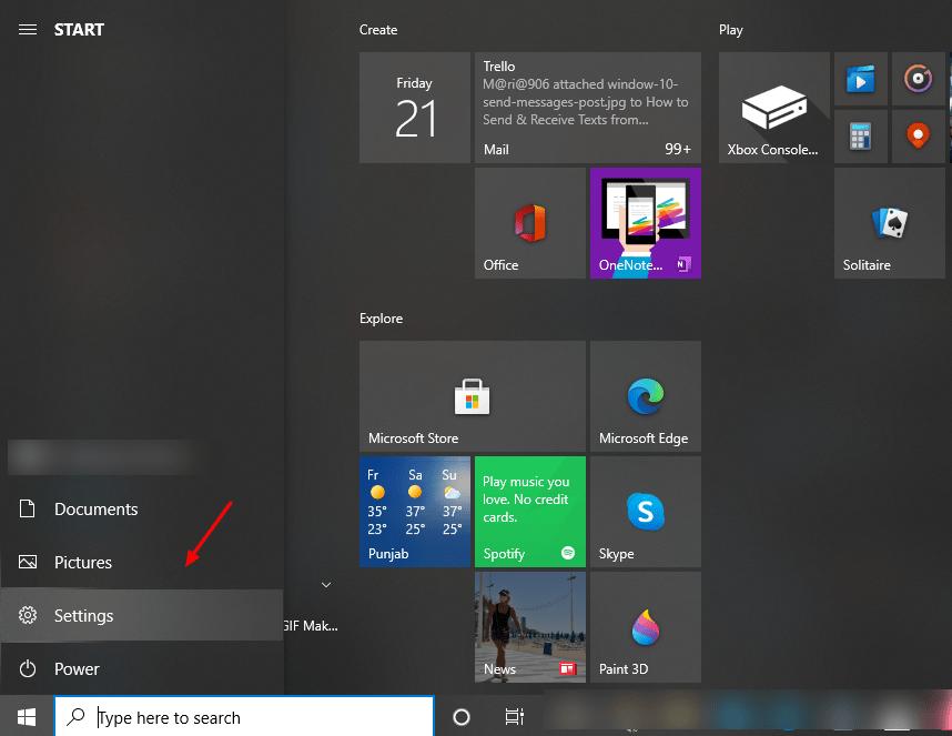 screenshot of settings tab on windows 10