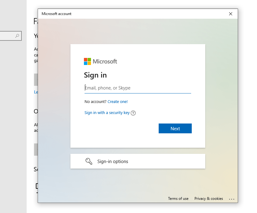 screenshot of Sign up with outlook