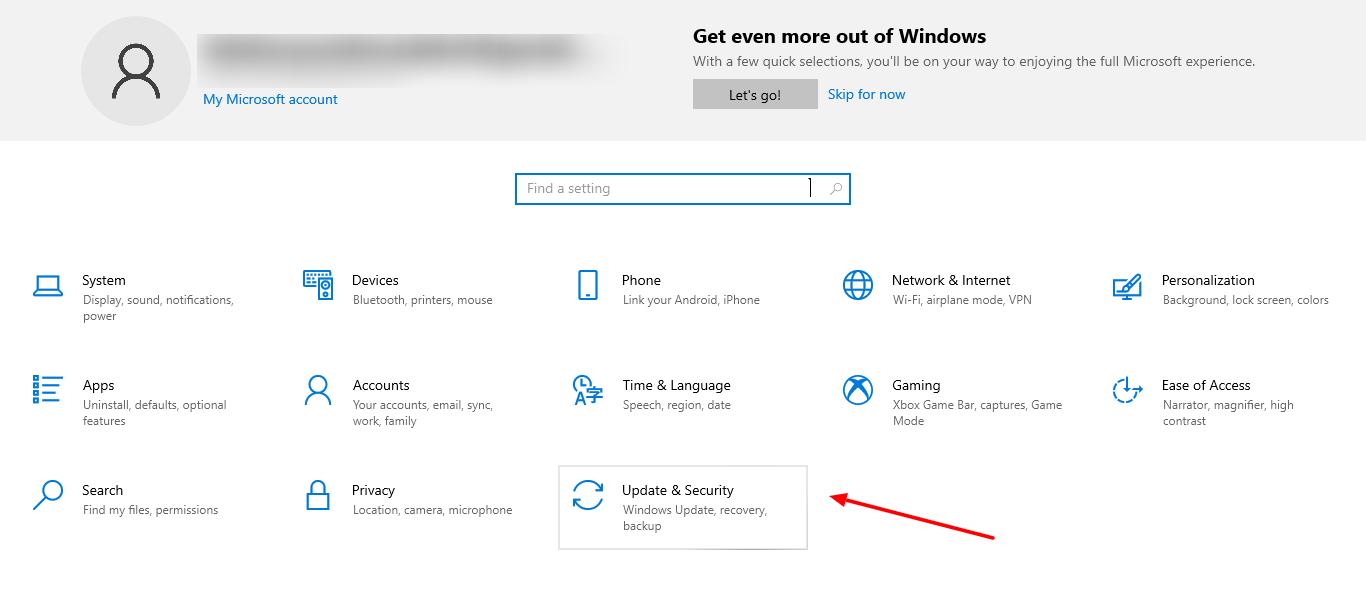 screenshot of Windows and Updates in Settings of Windows 10
