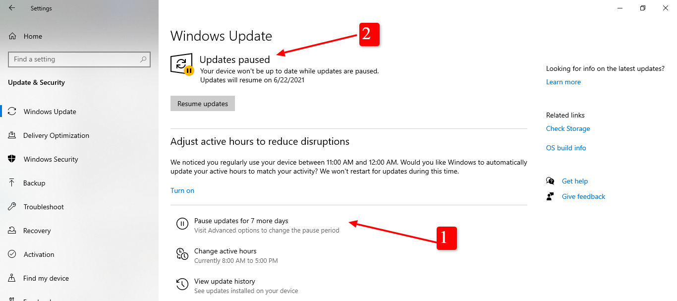 screenshot of Windows update paused for 7 days in Windows 10