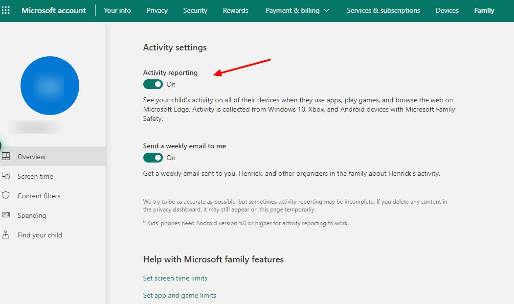 screenshot of activity reporting in parental controls of windows 10