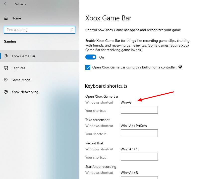 screenshot of enabling short key in Cbox Game Bar in Windows 10