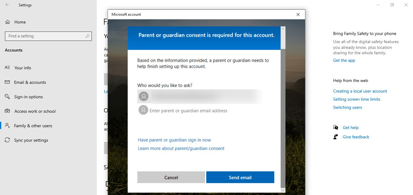 screenshot of guardian email address in Windows 10