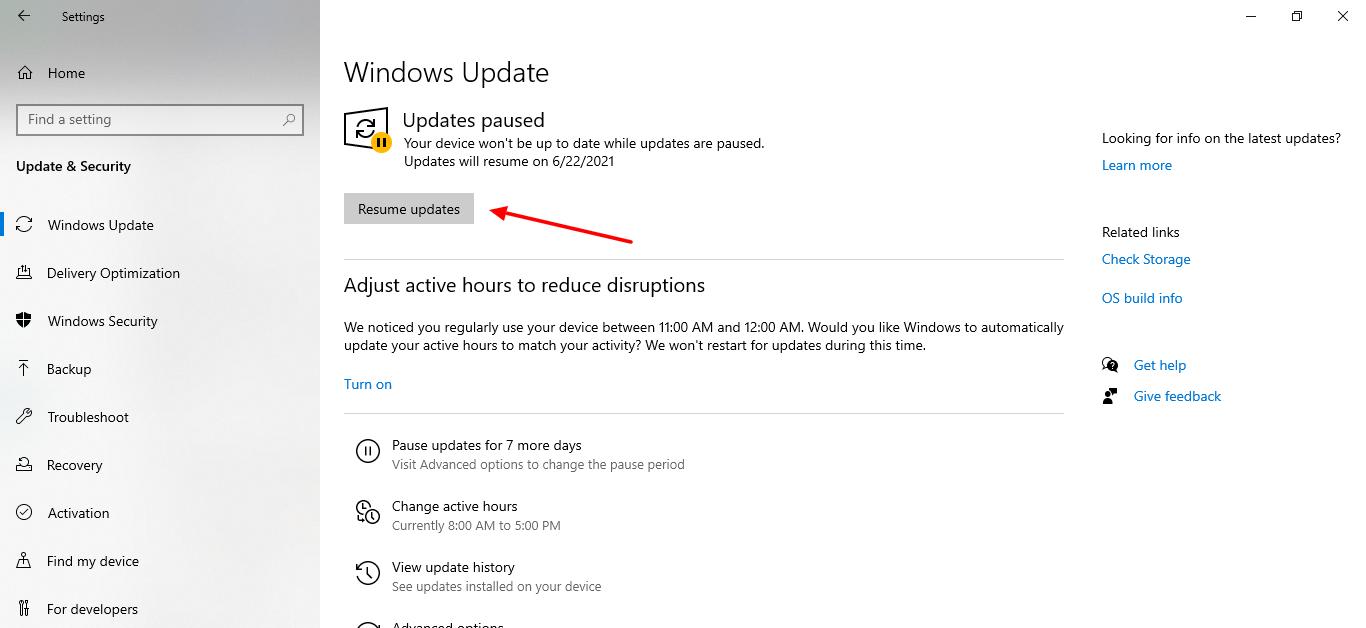 screenshot of how to resume updates in windows 10