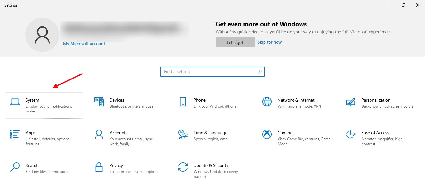 screenshot of settings tab in Windows 10