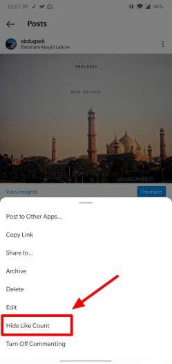 hide instagram likes on single post