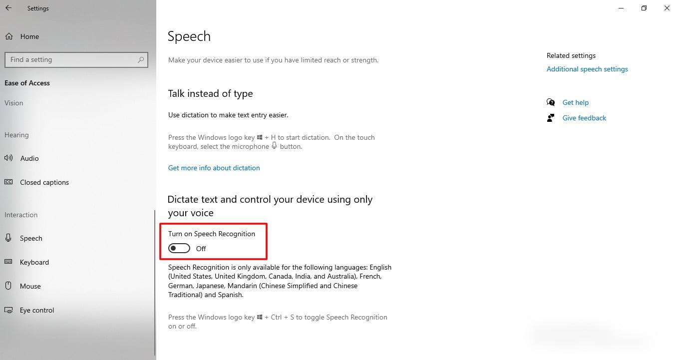 Screenshot of speech feature in Windows 10