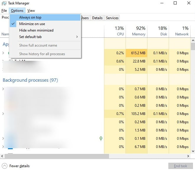 Screenshot of Always on top in Task Manager of Windows 10