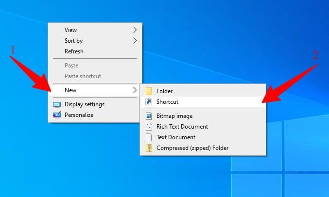 screenshot of selecting a new shortcut folder from menu on desktop