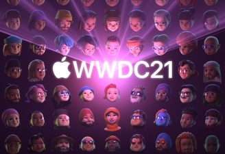 WWDC21 with the Apple's logo featuring on the background wall of Apple updates emojis