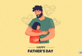 Father hugging her daughter on the ocassion of father's day