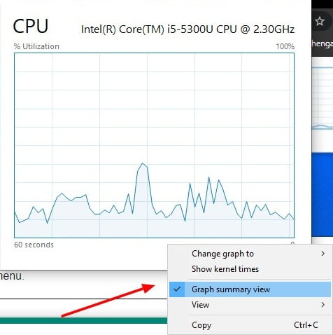 Screenshot of Graph summary view in Task Manager in Windows 10