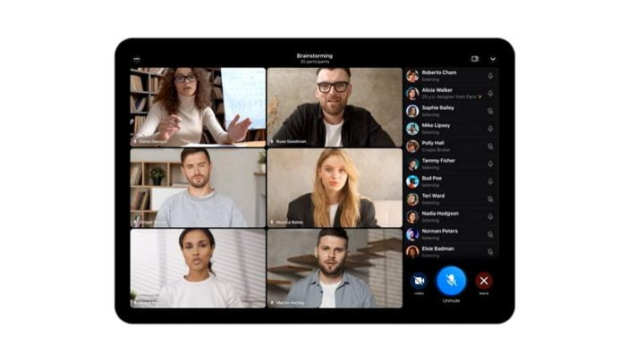 Screenshot of participants in video call of Telegram