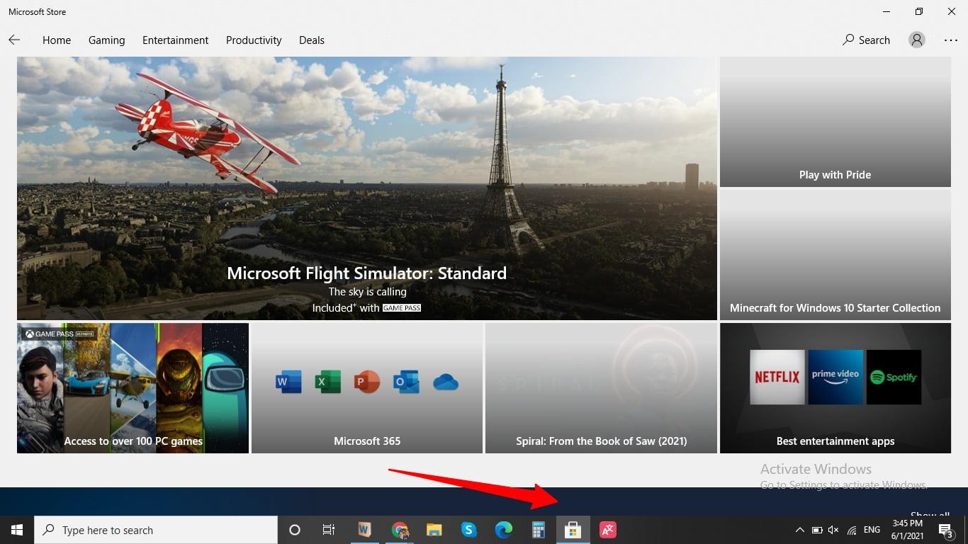 Screenshot of Microsoft app store in taskbar of Windows 10