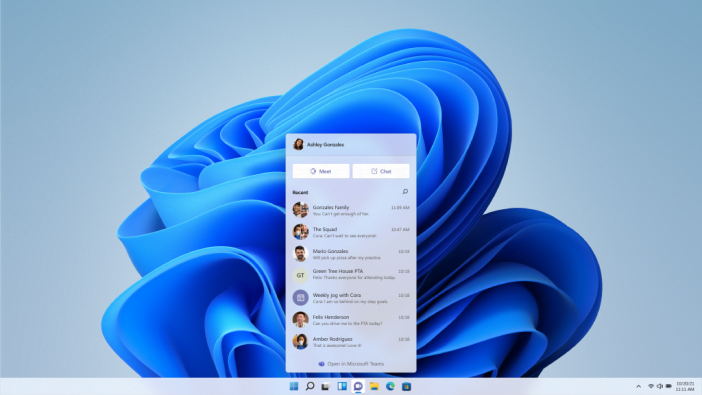 Microsoft Teams and Widgets in Windows 11