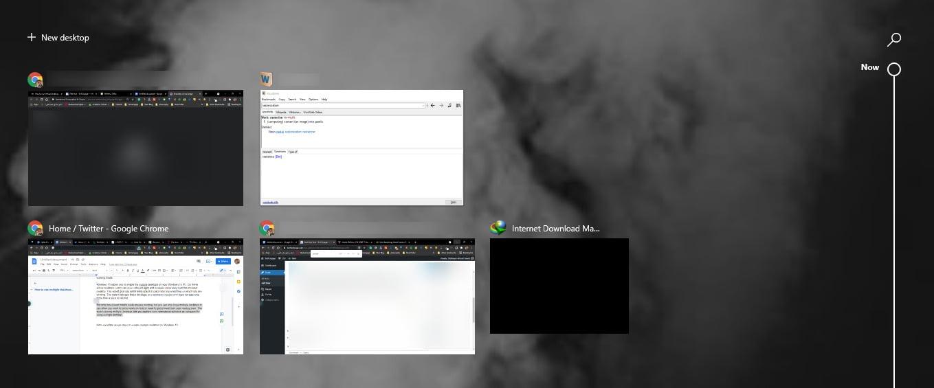 Screenshot of Multiple tabs in Task View in Windows 10