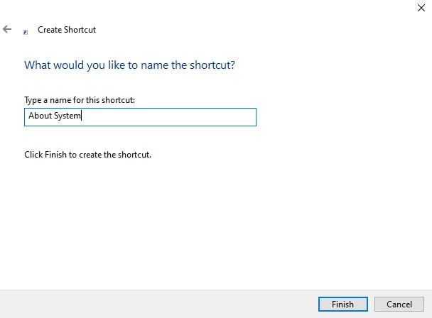 Screenshot of the pop-up box where users can name the shortcut folder