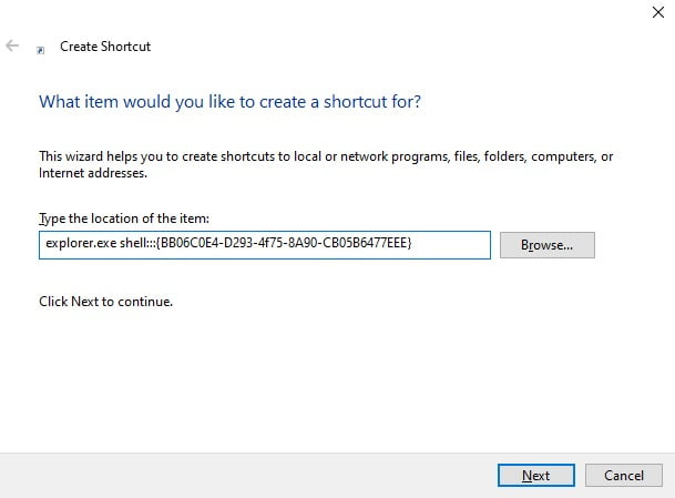 Screenshot of Opening Classic System Control Panel from shortcut folder in Windows 10.