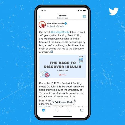 Screenshot of Reader mode feature in twitter Blue service
