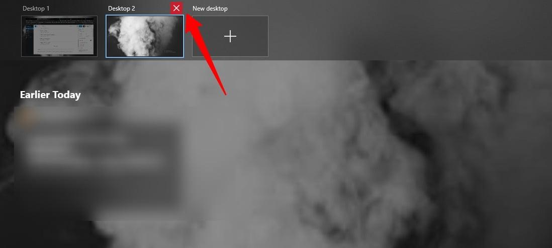 Screenshot of Remove desktop in Task View of Windows 10