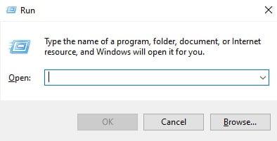Screenshot of Run Dialog box in Windows 10