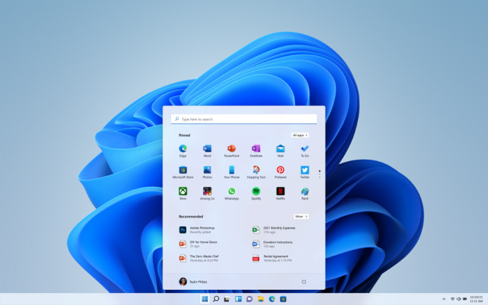Microsoft Windows 11 new Start menu