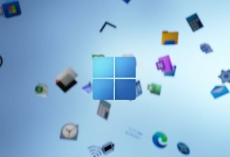 A logo of Windows with the background of various Windows' feature's icon