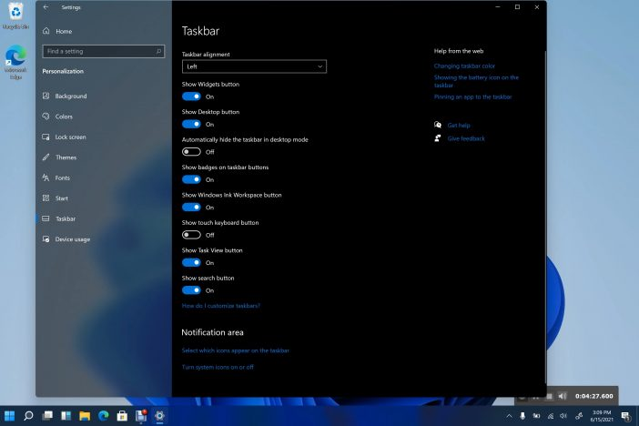 windows 11 left start menu