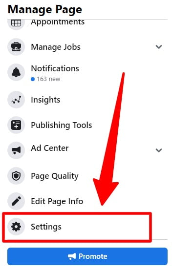 Manage page Settings on Facebook