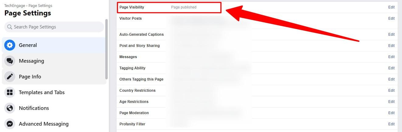 page unpublish option