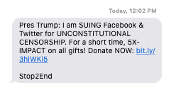 A text message asking for donation for the lawsuit filed by Mr. Trump against tech companies
